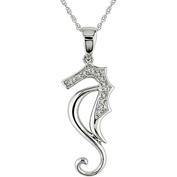 Haylee Jewels 10k White Gold Diamond Sea Horse Necklace (H-I, I2-I3)