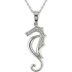Miadora 10k White Gold Diamond Sea Horse Necklace (I-J, I2-I3)