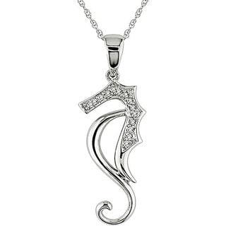 Miadora 10k White Gold Diamond Sea Horse Necklace (H-I, I2-I3)