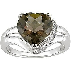Miadora 10k Gold Smokey Quartz and Diamond Heart Ring
