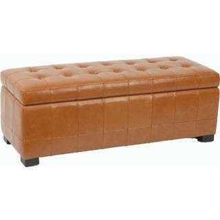 Safavieh Large Saddle Brown Manhattan Storage Bench
