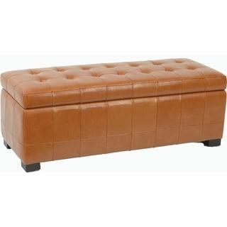 Safavieh Large Saddle Brown Manhattan Storage Bench