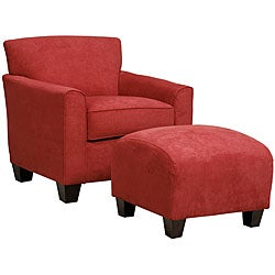 Portfolio Park Avenue Crimson Red Hand-tied Chair and Ottoman