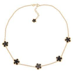 Glitzy Rocks 18k Gold over Sterling Silver Onyx Flower Necklace