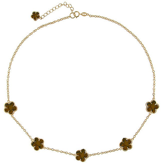 Glitzy Rocks 18k Gold over Silver Tiger's Eye Flower Necklace