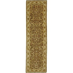 Handmade Antiquities Treasure Brown/ Gold Wool Runner (2'3 x 14')