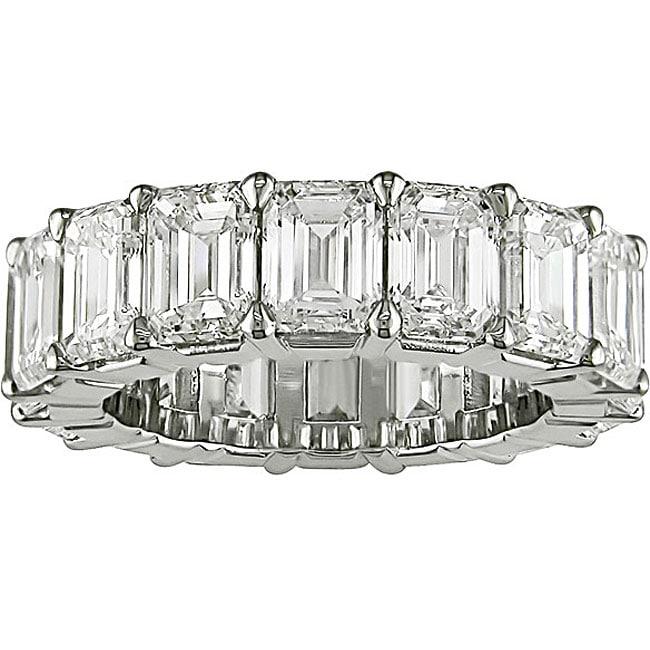 Miadora Platinum 8ct TDW Emerald Cut Diamond Eternity Band (E-F, VS)
