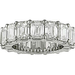 Miadora Platinum 8ct TDW Emerald Cut Diamond Eternity Band (E-F, VS)