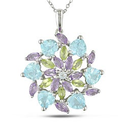 Miadora Sterling Silver Peridot, Blue Topaz and Amethyst Flower Necklace