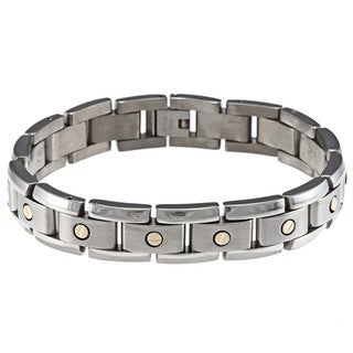 Men's 14k Yellow Gold and Titanium Two-tone Bracelet (12 mm)