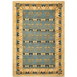 Persian Hand-knotted Tiffany Blue Rug (6' x 9')