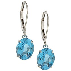 Kabella 14k White Gold Oval Blue Topaz Leverback Earrings