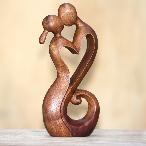 Wood 'Everlasting Kiss' Statuette (Indonesia)