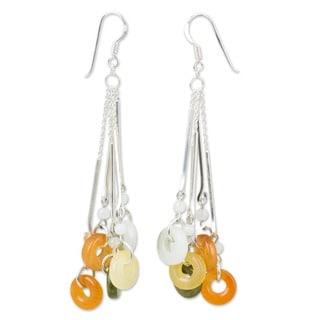 Sterling Silver Jade and Moonstone 'Between Nations' Earrings (Thailand)
