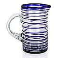 Glass 'Tall Cobalt Spiral' Pitcher (Mexico)