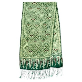 Royal Java Hand Stamped Artisan Batik Shades of Green Gossamer Light Weight 100% Silk Knotted Fringe Womens Scarf (Indonesia)
