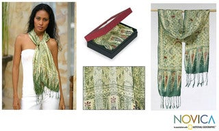 Silk 'Royal Java Green' Batik Scarf (Indonesia)