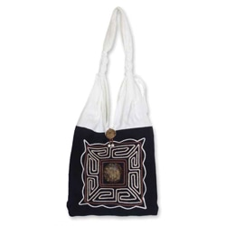 'Coconut Elephant' Cotton Sling Tote (Thailand)