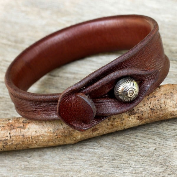 Leather 'Sleek Chic' Bracelet (Thailand)