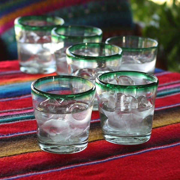 Hand Blown Recycled Juice glasses, Lime Freeze (set of 6) (MEXICO)