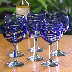 Set of 6 Blown Glass 'Blue Ribbon' Wine Glasses (Mexico)