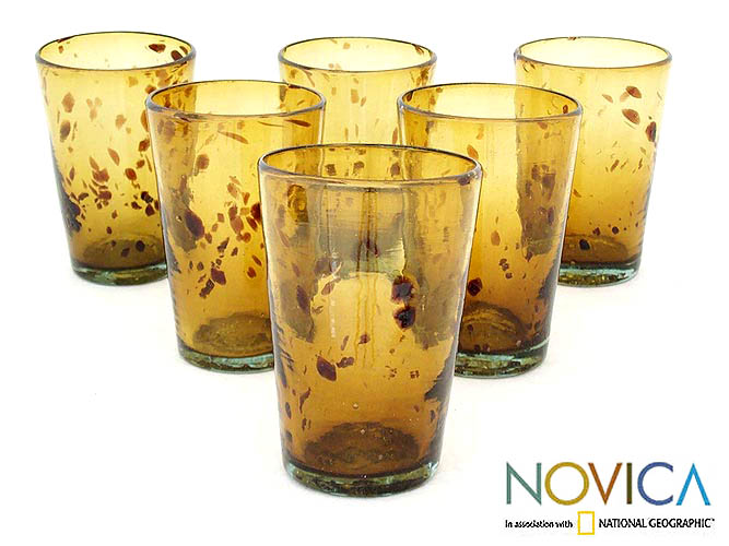 'Conical Tortoiseshell' 6-piece Glass Set (Mexico)