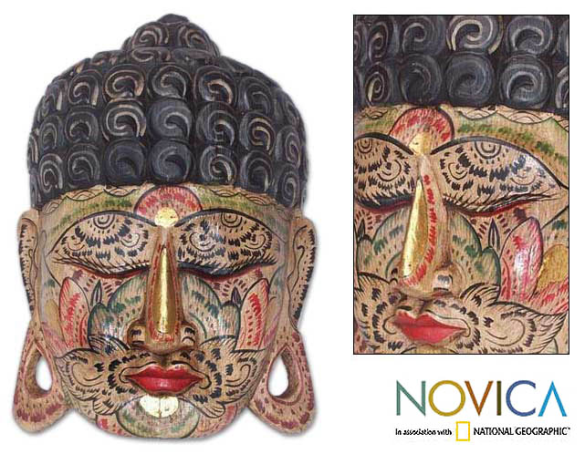 'Flower Face Buddha' Wood Mask (Indonesia)