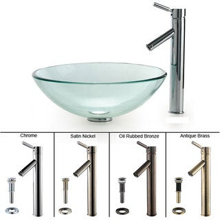 Kraus Clear Glass Sink and Sheven Bathroom Faucet