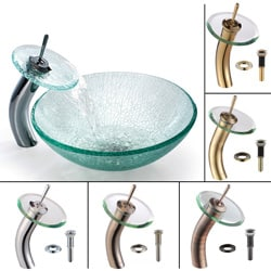 Kraus Mosaic Broken Glass Vessel Sink and Faucet