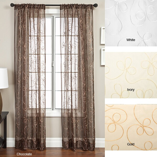 Angela Ribbon Embroidered 96-inch Curtain Panel - 11415038 - Overstock ...