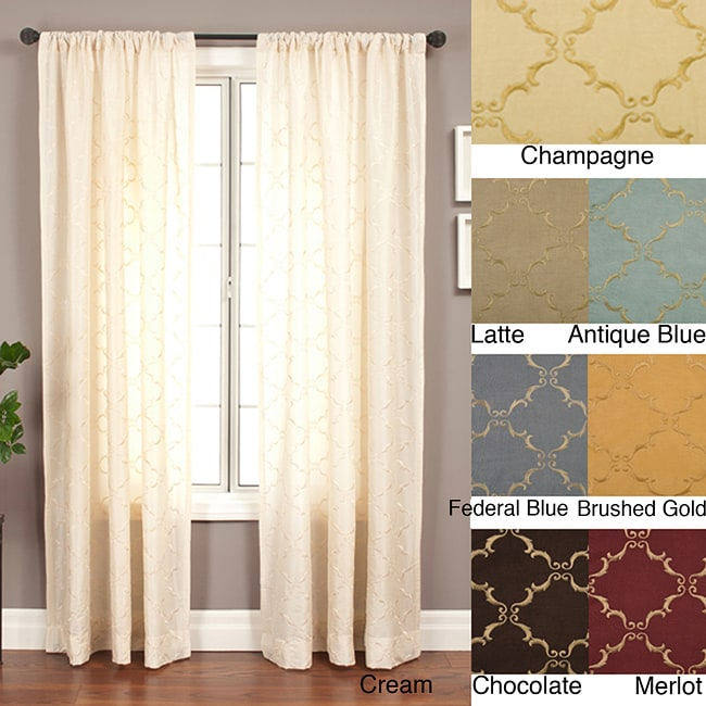 Medici Trellis Embroidered 84-inch Curtain Panel