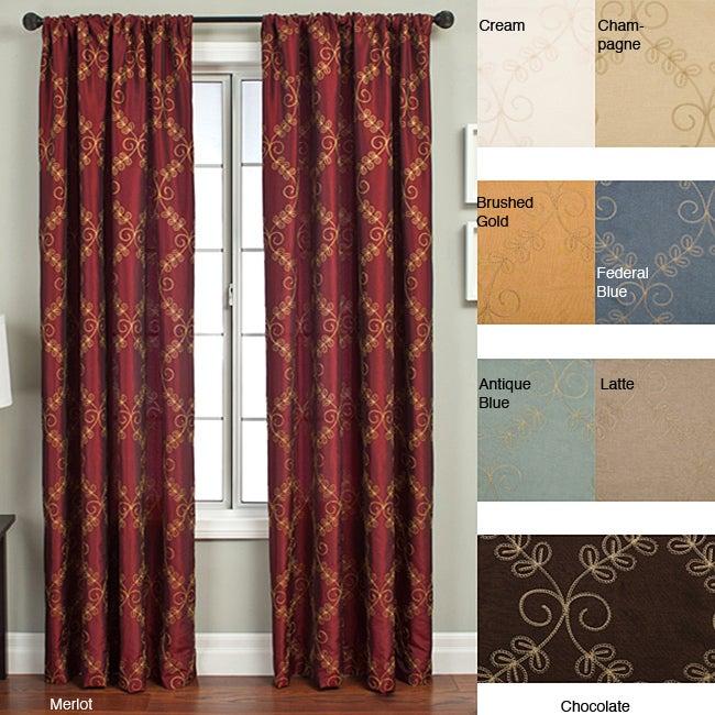 Renzo Chain Stitch Faux Silk 120-inch Curtain Panel