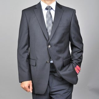 Men's 2-button Black Wool Blazer