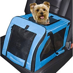 PetGear Blue Nylon Zippered Soft Car Seat and Carrier with Handles