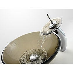Kraus Clear Brown Glass Vessel Sink and Bathroom Faucet