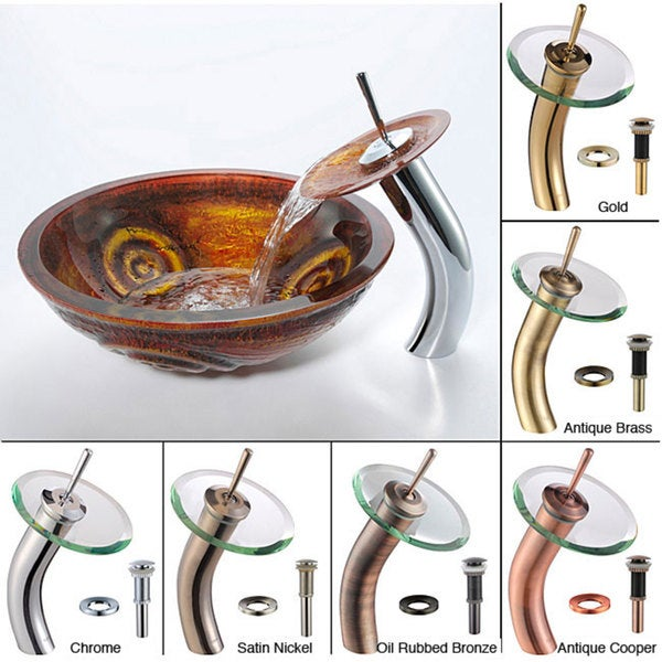 Kraus Tiger Eye Glass Sink and Waterfall Faucet