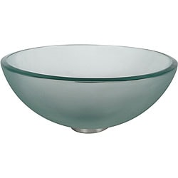 Kraus Frosted 14 -inch Glass Vessel Sink with PU-MR Chrome