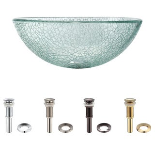 Kraus Mosaic Glass 14 -inch Vessel Sink with PU-MR Chrome