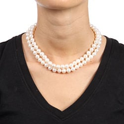 Miadora New York Pearls White FW Pearl 32-inch Strand (8-8.5 mm)