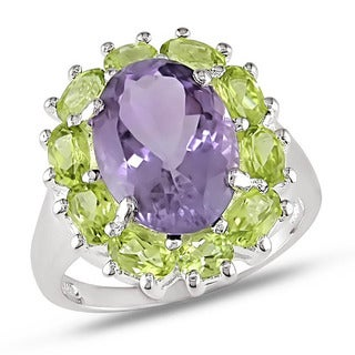 Miadora Sterling Silver Amethyst and Peridot Flower Ring
