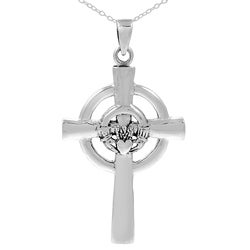 Tressa Sterling Silver Celtic Claddagh Cross Necklace