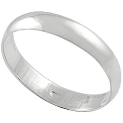 Smooth Simple-design High-shine Polished-finish Sterling Silver Ring