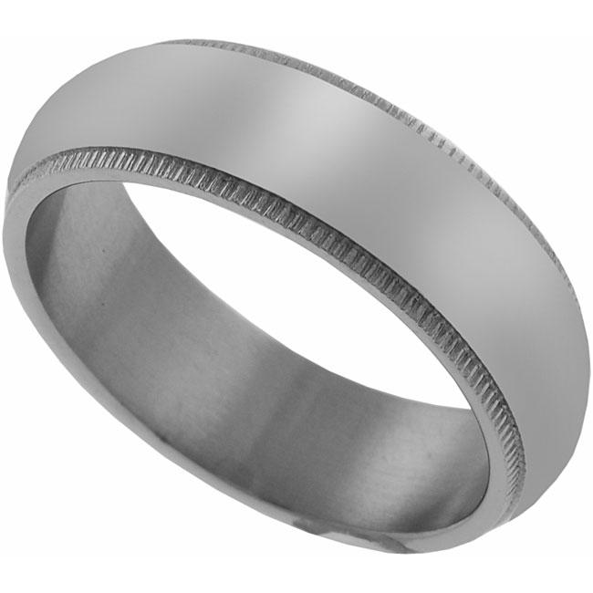 Men's Titanium Etched Edges Ring