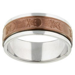 Chocolate Steel Skull and Crossbones Spinner Band
