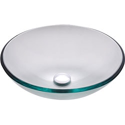 Kraus Clear Glass Vessel Sink with PU-MR Chrome