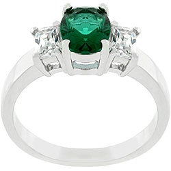 Kate Bissett Silvertone Green Cubic Zirconia Triplet Ring