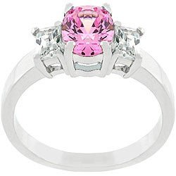 Kate Bissett Silvertone Oval-cut Pink Ice CZ Engagement-style Ring