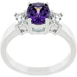Kate Bissett Silvertone  Purple CZ Engagement-style Ring