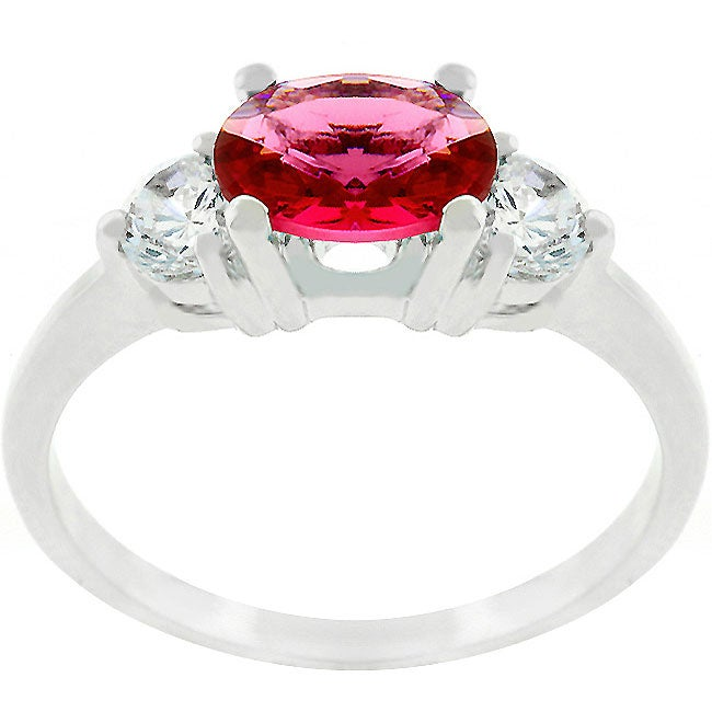 Kate Bissett Silvertone Red Oval CZ Triplet Ring