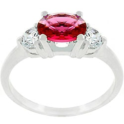 Kate Bissett Silvertone Red Oval CZ Triplet Ring